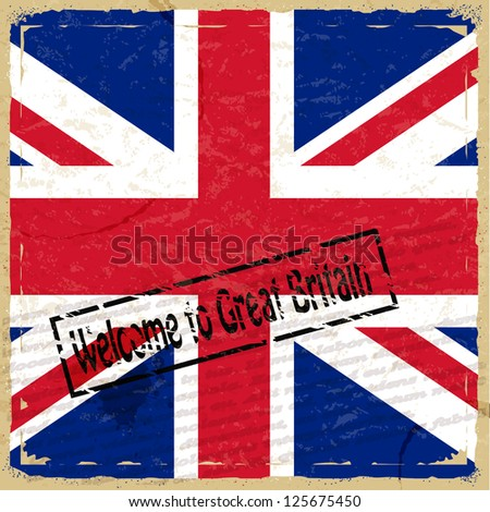 Vintage background with flag of Great Britain - stock vector