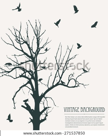 Vintage background with flying birds and tree - stock vector