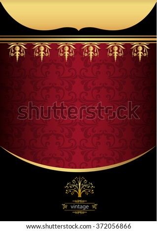 Vintage Background With Gold Frame For Coverfood Menu Or Template In Golden Red