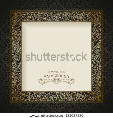 Vintage background with golden frame - stock vector