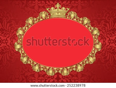 vintage background with golden frame and crown - stock vector