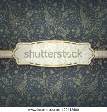 vintage background with golden ornament - stock vector