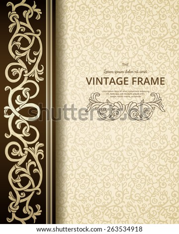 Vintage background with golden ornament. - stock vector