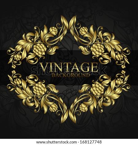 vintage background  with golden ornamental design elements - stock vector