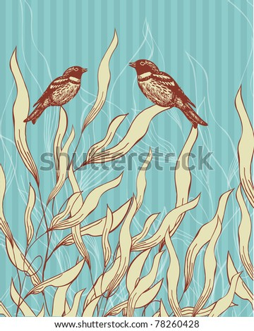 Vintage background  with leaves,  flowers and birds couple