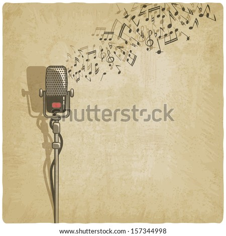 Vintage background with microphone - vector illustration - stock vector