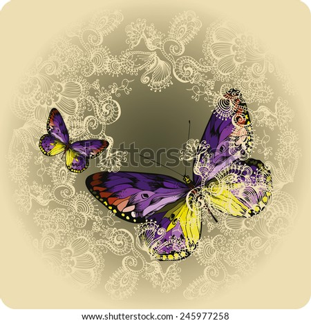 Vintage background with ornament and butterflies, hand-drawing. Vector illustration. - stock vector
