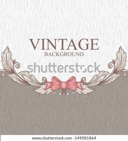 Vintage background with ornaments and a bow - stock vector