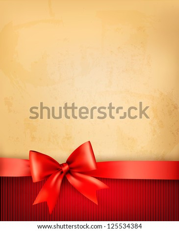 Vintage background with red gift bow and ribbon on old paper. Vector illustration. - stock vector