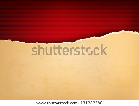 Vintage background with ripped old paper. Vector illustration. - stock vector