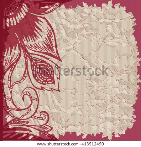 Vintage background with ripped old paper with place for text and floral frame. Template cards, invitation, label on the old paper, scrapbooking page, hand drawn vector illustration. Shabby chic. - stock vector