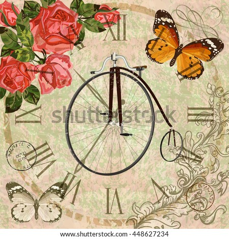 Vintage background with roses,butterflies and old bicycle.