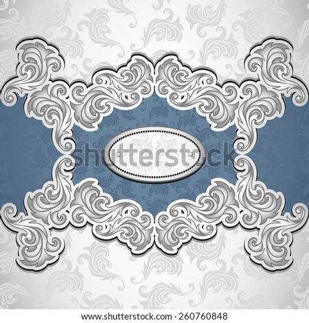 Vintage background with seamless pattern in silver blue colors for invitation or congratulation or for package perfume, cosmetic, jewelry  or for label vodka  - stock vector