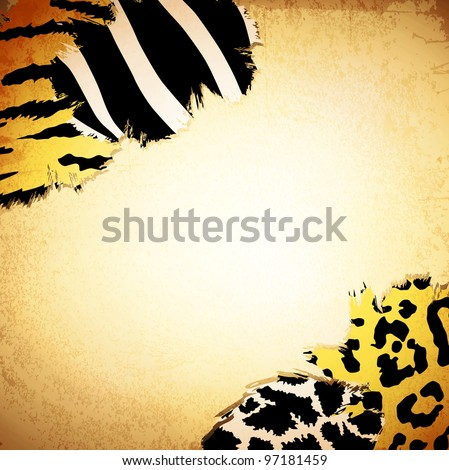Vintage background with some animal print patterns, copyspace for your text - stock vector