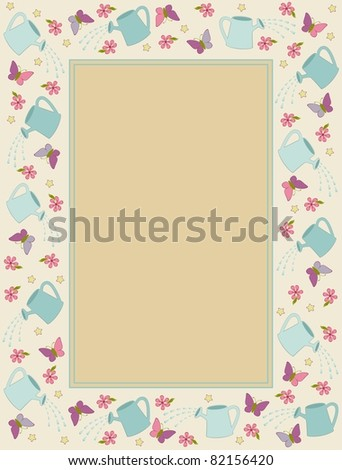 Vintage background with watering-can, butterfly and flowers. Vector