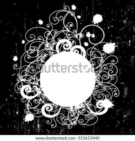 Vintage background with white ornate frame and banner