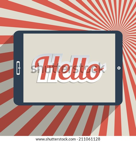 """Vintage background with word """"Hello"""". Concept for social network, social media and global communication. Flat design illustration. - stock vector"""