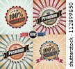 Vintage backgrounds and labels set - stock vector