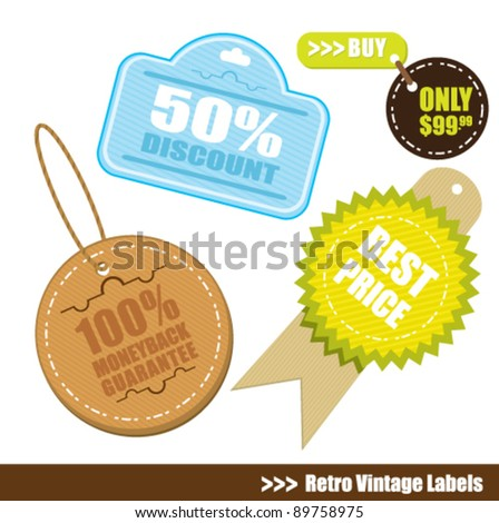 vintage badge and label tag - stock vector
