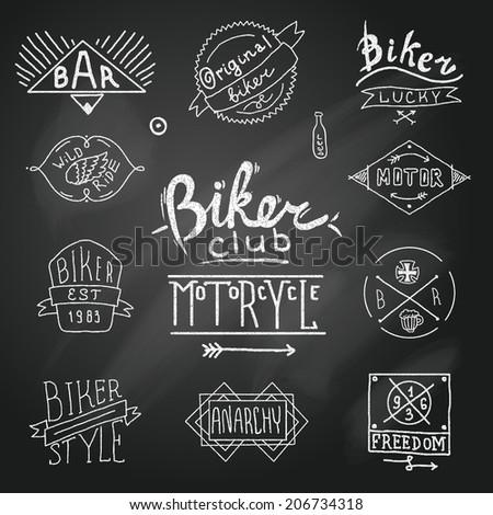 Vintage badge biker motor emblem in sketch style on chalk board vector illustration - stock vector