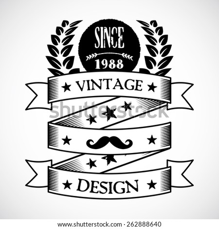 Vintage badge 5. Creative graphic design logo elements. Isolated on gradient white background. Vector illustration. - stock vector