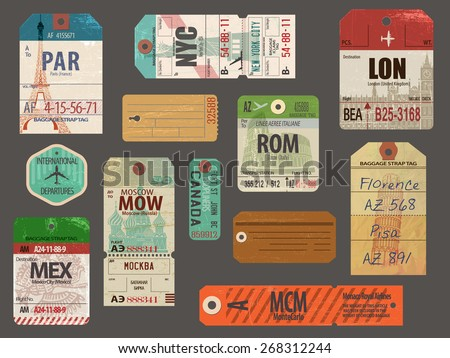 Vintage Baggage and luggage tags for flights to most popular destinations, with their famous landmarks, including London, Paris, New York, Rome, Pisa and Moscow; weathered and worn