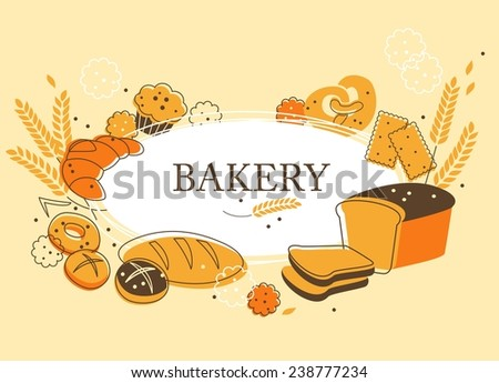 Vintage bakery background with bread and other pastries   - stock vector