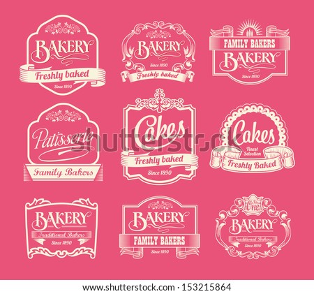 Vintage bakery labels, ribbons and decorative banners - stock vector