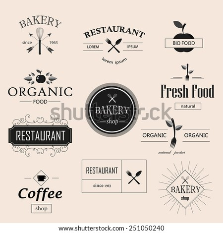Vintage bakery, restaurant, organic food logotypes set. Food and drink labels and badges set - stock vector