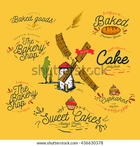 Vintage Bakery shop sign and emblem designs / Cakes / Bread / Typography / Illustration / Premium Quality, Muffin, - stock vector