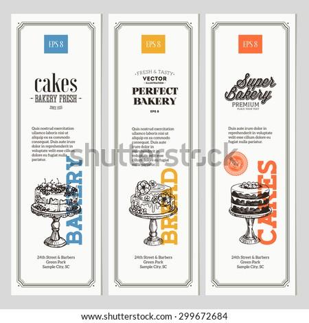Vintage Bakery vertical banner collection. Vector Illustration - stock vector
