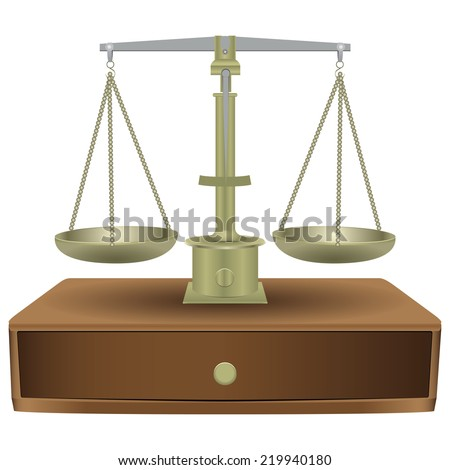 Vintage balanced scales with wooden drawer. Vector illustration. - stock vector