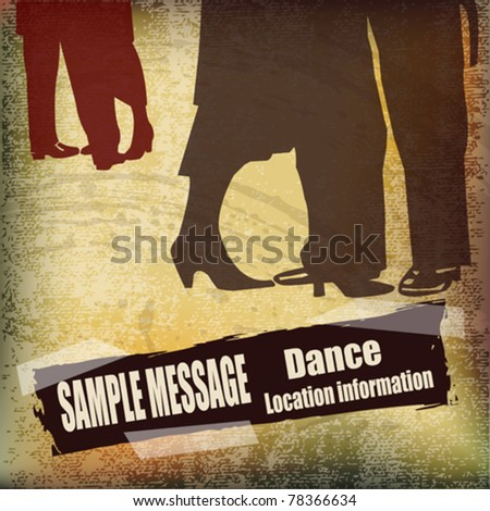 Vintage Ballroom Dance vector flyer, for an event or Dance School - stock vector