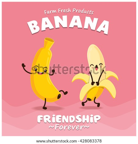 Vintage Banana poster design with vector banana character.