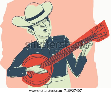 vintage banjo player with cowboy hat vector illustration
