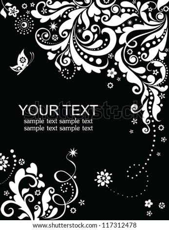 Vintage banner (black and white) - stock vector