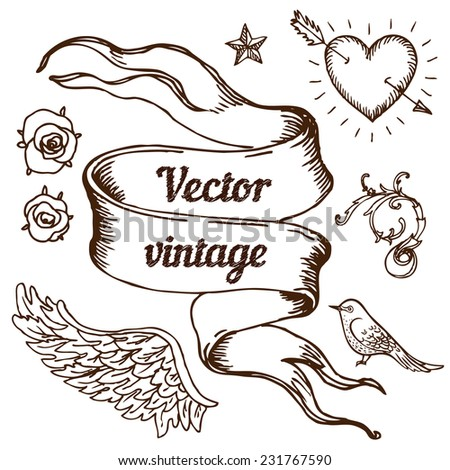 Vintage banner elements set, vector illustration. Copy space for your text.