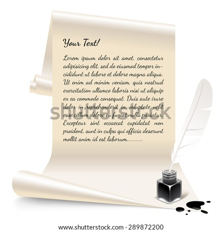 Vintage banner in the form of white paper with an inkwell and feather. Vector Illustration - stock vector