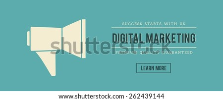 vintage banner of digital marketing, vector illustration - stock vector