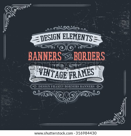 vintage banners and frames - stock vector