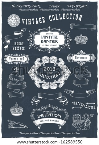Vintage banners and labels set with decorative elements. Vector. - stock vector