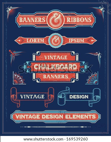 Vintage Banners and Ribbon Design Elements. Hand Drawn Retro Vector Background with removable textures.  - stock vector