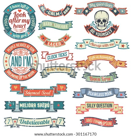 Vintage banners and ribbons needed for the emblems and logos. Ribbons logos in grunge style. Logo with skull. Scratches and text are grouped separately and can be easily removed. - stock vector