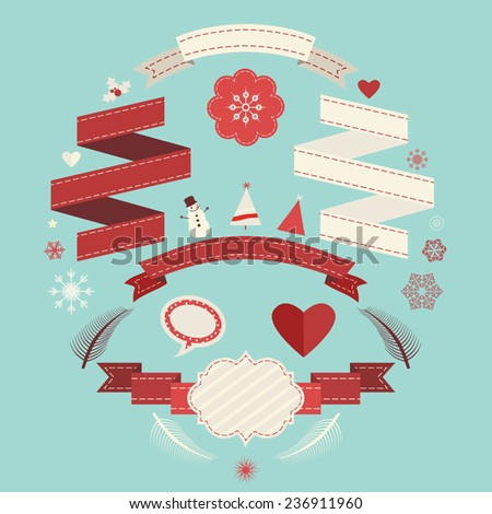 vintage banners and ribbons set for christmas - stock vector