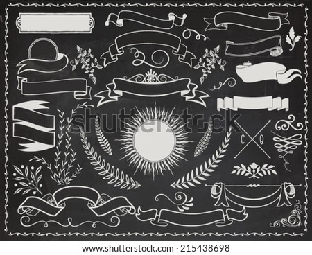 Vintage Banners on Blackboard - Vintage vector design elements, including banners, ribbons, branches, swirls, curls, sunburst tag and leaves - stock vector