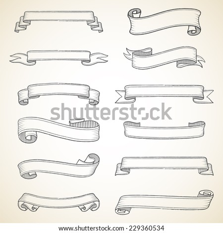 Vintage Banners Set - Set of vintage banners. Each object is grouped for easy editing. - stock vector