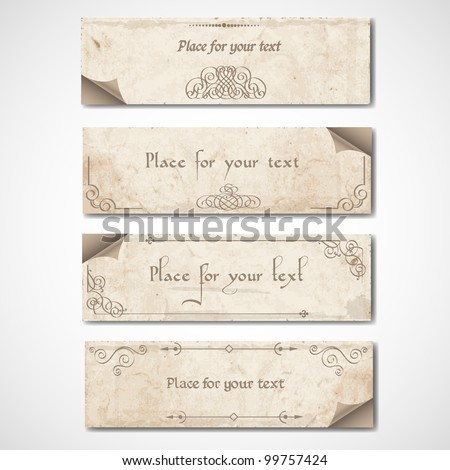 Vintage banners with calligraphic elements.Vector set