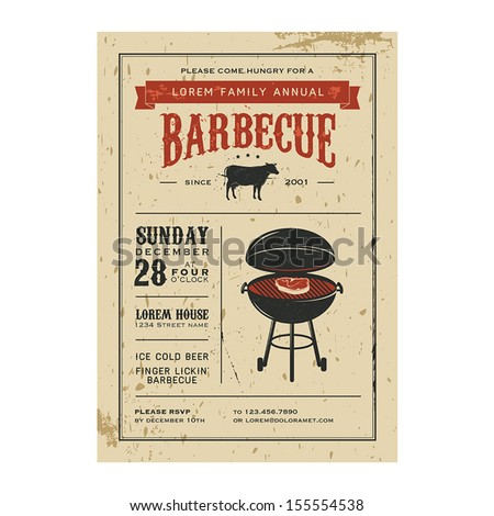 Vintage barbecue invitation - stock vector