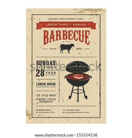Vintage barbecue invitation - stock vector