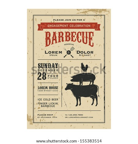 Vintage barbecue invitation card on old grunge paper - stock vector